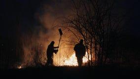 Δύο πυροσβέστες με τα πτερύγια πυρκαγιάς εξαφανίζουν μια πυρκαγιά στο δάσος τη νύχτα στοκ εικόνα