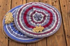 Δύο πλεκτά ζωηρόχρωμα berets Στοκ φωτογραφία με δικαίωμα ελεύθερης χρήσης