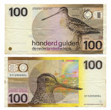 Διακομμένα ολλανδικά χρήματα - Gulden 100 Στοκ Εικόνες