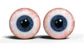 Δύο ρεαλιστικά ανθρώπινα μάτια με την μπλε ίριδα, που απομονώνεται στην άσπρη τρισδιάστατη απεικόνιση υποβάθρου Στοκ Εικόνα