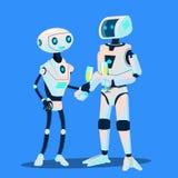 Δύο ρομπότ ερωτευμένα είναι κατά την ημερομηνία με τα γυαλιά του διανύσματος CHAMPAGNE απομονωμένη ωθώντας s κουμπιών γυναίκα ένα ελεύθερη απεικόνιση δικαιώματος