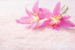 Δύο ρόδινοι κρίνοι και ορυκτά άλατα λουτρών Εκλεκτική εστίαση Ρόδινος κρίνος βροχής Στοκ Εικόνες