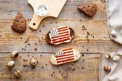 Δύο σάντουιτς με την εικόνα της αμερικανικής σημαίας Στοκ Εικόνα