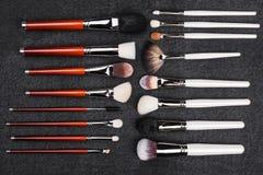 Δύο σειρές των βουρτσών makeup Στοκ Φωτογραφία