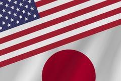 Δύο σημαίες χωρών των Ηνωμένων Πολιτειών της Αμερικής και της Ιαπωνίας στοκ εικόνες