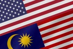 Δύο σημαίες χωρών των Ηνωμένων Πολιτειών της Αμερικής και της Μαλαισίας στοκ εικόνες με δικαίωμα ελεύθερης χρήσης