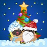 Δύο σκυλιά μαλαγμένου πηλού στα κοστούμια Άγιος Βασίλης Χριστουγέννων και κορίτσι χιονιού στο υπόβαθρο του χριστουγεννιάτικου δέν ελεύθερη απεικόνιση δικαιώματος