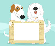 Δύο σκυλιά που κρατούν μια ξύλινη επιφάνεια απεικόνιση αποθεμάτων