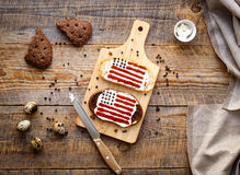 Δύο σπιτικά σάντουιτς με την εικόνα της αμερικανικής σημαίας Στοκ εικόνα με δικαίωμα ελεύθερης χρήσης