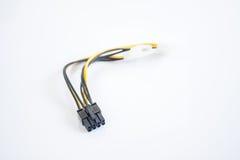 Δύο συνδετήρες Molex σε έναν συνδετήρα του PCI Express 6 καρφιτσών στο λευκό στοκ φωτογραφία με δικαίωμα ελεύθερης χρήσης