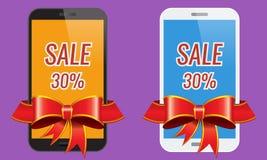 Δύο σύγχρονα κινητά τηλέφωνα οθονών επαφής με το έμβλημα πώλησης κορδελλών Στοκ εικόνες με δικαίωμα ελεύθερης χρήσης