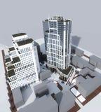 Δύο σύγχρονα κτήρια πολυόροφων κτιρίων διανυσματική απεικόνιση