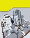 Δύο σύγχρονα κτήρια πολυόροφων κτιρίων απεικόνιση αποθεμάτων