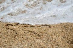 Δύο σύμβολα καρδιών στην άμμο Στοκ Εικόνες