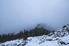 Δύο ταξιδιώτες αναρριχούνται στο βουνό το χειμώνα κατά τη διάρκεια μιας θύελλας α χιονιού στοκ εικόνα με δικαίωμα ελεύθερης χρήσης