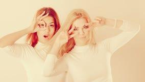 Δύο τρελλά κορίτσια που παίζουν γύρω από από κοινού Στοκ Εικόνα