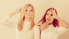 Δύο τρελλά κορίτσια που παίζουν γύρω από από κοινού Στοκ Εικόνες