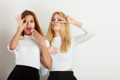 Δύο τρελλά κορίτσια που παίζουν γύρω από από κοινού Στοκ φωτογραφίες με δικαίωμα ελεύθερης χρήσης