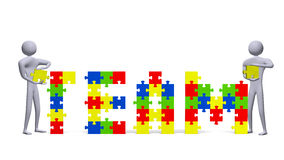 Δύο τρισδιάστατοι άνθρωποι που συγκεντρώνουν το κείμενο ομάδων των πολύχρωμων κομματιών γρίφων διανυσματική απεικόνιση