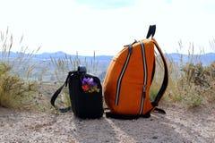 Δύο τσάντες με τα ζωηρόχρωμα λουλούδια στο υπόβαθρο βουνών στοκ φωτογραφία με δικαίωμα ελεύθερης χρήσης