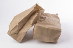 Δύο τσαλακωμένη τσάντα εγγράφου στοκ εικόνες