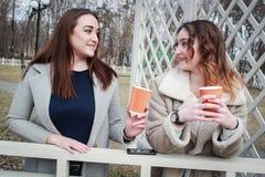 Δύο φίλες γυναικών πίνουν τον καφέ στο πάρκο στοκ φωτογραφία με δικαίωμα ελεύθερης χρήσης