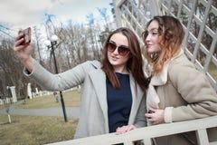Δύο φίλες παίρνουν ένα selfie στο τηλέφωνο στοκ φωτογραφία με δικαίωμα ελεύθερης χρήσης