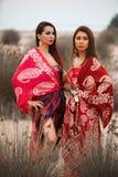 Δύο φίλες στα ζωηρόχρωμα ενδύματα μαντίλι, υπαίθρια πορτρέτο στοκ φωτογραφία με δικαίωμα ελεύθερης χρήσης