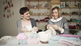 Δύο φίλοι γυναικών έχουν τη διασκέδαση πλέκοντας το μάλλινο νήμα στο στούντιο εργασίας Ελεύθερος χρόνος γυναικών απόθεμα βίντεο