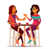 Δύο φίλοι γυναικών που πίνουν το διάνυσμα καφέ Καλύτεροι φίλοι στον καφέ Να καθίσει μαζί στο εστιατόριο Επικοινωνία, γέλιο απεικόνιση αποθεμάτων