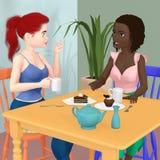 Δύο φίλοι που τρώνε το κέικ και που πίνουν το τσάι ελεύθερη απεικόνιση δικαιώματος