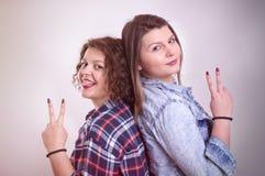 Δύο φίλοι νέων κοριτσιών που στέκονται μαζί και που έχουν τη διασκέδαση εμφάνιση Στοκ εικόνες με δικαίωμα ελεύθερης χρήσης