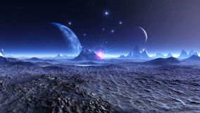 Δύο φεγγάρια πέρα από το φανταστικό πλανήτη διανυσματική απεικόνιση