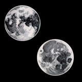 Δύο φεγγάρια του watercolor στο μαύρο ουρανό Στοκ Εικόνα