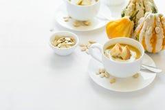Δύο φλυτζάνια με τη φρέσκια κολοκύθας κρέμα, τους σπόρους και τις κροτίδες κρέμας διακοσμημένη σούπα Στοκ φωτογραφίες με δικαίωμα ελεύθερης χρήσης