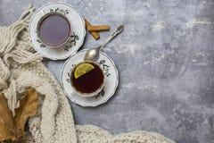 Δύο φλυτζάνια με το μαύρο τσάι και το λεμόνι και πιατάκια, το λεμόνι, τα ραβδιά κανέλας, το κουτάλι, τα δρύινα φύλλα και το πλεκτ στοκ εικόνες