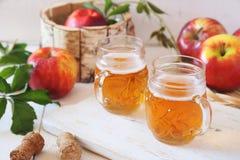 Δύο φλυτζάνια του μηλίτη της Apple και των κόκκινων μήλων στο ξύλινο καλάθι Στοκ Εικόνες