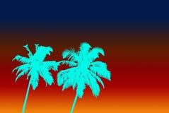 Δύο φοίνικες χρώματος aqua και ουρανός κλίσης διανυσματική απεικόνιση
