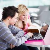 Δύο φοιτητές πανεπιστημίου που έχουν τη διασκέδαση που μελετά από κοινού Στοκ εικόνα με δικαίωμα ελεύθερης χρήσης
