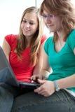 Δύο φοιτητές πανεπιστημίου που μελετούν/που εργάζονται Στοκ Εικόνα