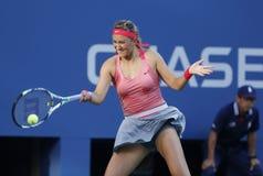 Δύο φορές ο πρωτοπόρος Βικτώρια Azarenka του Grand Slam κατά τη διάρκεια του τελικού αγώνα της στις ΗΠΑ ανοίγει το 2013 ενάντια στ Στοκ εικόνες με δικαίωμα ελεύθερης χρήσης