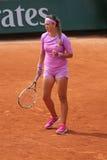 Δύο φορές πρωτοπόρος Βικτώρια Azarenka του Grand Slam της Λευκορωσίας στη δράση κατά τη διάρκεια της δεύτερης στρογγυλής αντιστοι Στοκ Εικόνα