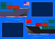 Δύο φορτηγά πλοία ως οικονομική φορολογική διαφωνία ν πέρα από τις εξαγωγές importand διανυσματική απεικόνιση