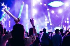 Δύο φω'τα σκηνών συναυλίας πλήθους φίλων γυναικών Στοκ εικόνες με δικαίωμα ελεύθερης χρήσης