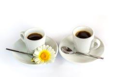 Δύο φλιτζάνια του καφέ, κουτάλια και chamomile Στοκ εικόνες με δικαίωμα ελεύθερης χρήσης