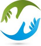 Δύο χέρια, λογότυπο φυσιοθεραπείας και μασάζ απεικόνιση αποθεμάτων