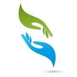 Δύο χέρια, λογότυπο φυσιοθεραπείας και μασάζ διανυσματική απεικόνιση