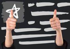 Δύο χέρια που δίνουν τους αντίχειρες επάνω ενάντια στην γκρίζα συρμένη χέρι αμερικανική σημαία Στοκ εικόνα με δικαίωμα ελεύθερης χρήσης