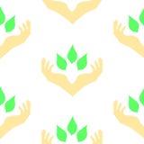 Δύο χέρια που περιβάλλουν τα πράσινα φύλλα, άνευ ραφής σχέδιο διανυσματική απεικόνιση