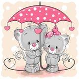 Δύο χαριτωμένα γατάκια με την ομπρέλα κάτω από τη βροχή ελεύθερη απεικόνιση δικαιώματος